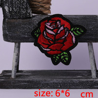 2016year New arrival 1PC beautiful red flower Iron On Embroidered Patch For Cloth Cartoon Badge Garment Appliques DIY Accessory
