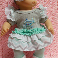 """American Girl BITTY BABY clothes """"Rainbow Fish"""" (15 inch) doll outfit with dress, leggings, baby booties, and headband/ hair clip"""