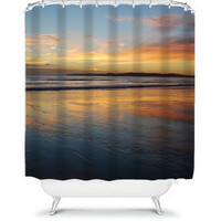 Sunset photo shower curtain art, New Zealand beach scene sunrise bathroom decor, modern nature lover decorative curtain