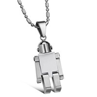 Silver Robot Titanium Stainless Steel necklace