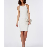 Missguided - Crepe Embellished Trim Bodycon Dress White
