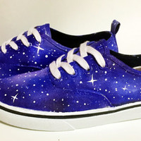 Hand Painted Canvas Shoes - Galaxy Theme