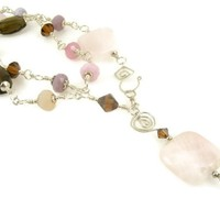 Pink and Brown Long Necklace Rose Quartz with Smoky Topaz and Crystals Front Closure Sterling Silver