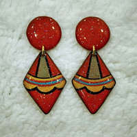RED GEOMETRIC EARRING DIAMOND&CIRCLE SHAPE