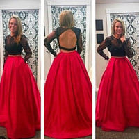 long Prom Dress,two pieces Prom Dress,open back Prom Dress,long sleeves Prom Dress,party dress,PD705