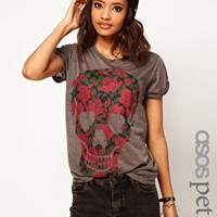ASOS PETITE Exclusive T-Shirt With Floral Skull at asos.com