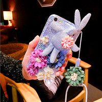 3D Rabbit Floral iphone Case iphone 7 Plus silicone covers soft