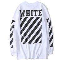 OFF-WHITE Tide brand classic simple letter striped round neck long-sleeved sweater white