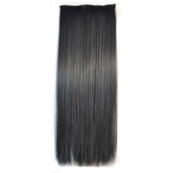 Ivisible Hair Weft Long Straight Hair Extension 5 Cards Wig black