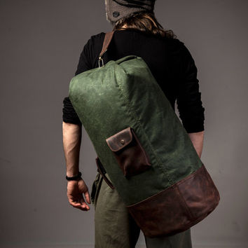 Waxed canvas duffle - military duffle bag - canvas duffle bag - overnight bag - travel bag - leather straps