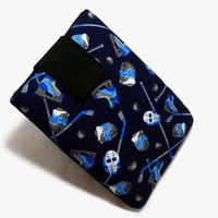 Tablet Case, iPad Cover, Ice Hockey, Sports, Kindle Fire Cover,  7, 8, 9, 10  inch Tablet Sleeve, Cozy, Handmade, FOAM Padding, Blue, Gift