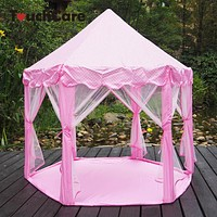 Six Angle Pink Princess Castle Gauze Tent House Girl Children Large Indoor Outdoor Toy Game House Kids Ball Play Tents