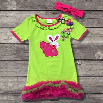 Green Ruffled Easter Bunny Dress