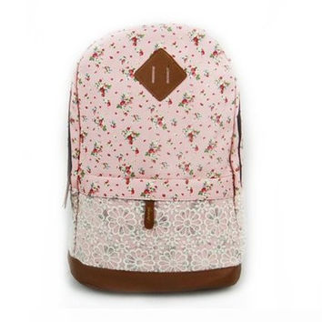 Pink Floral Pattern With Lace Design Backpack School