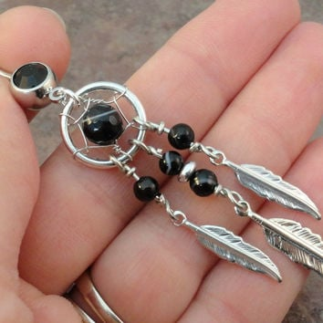 Black Onyx Dream Catcher Belly Button Jewelry Ring Tribal Belly Ring