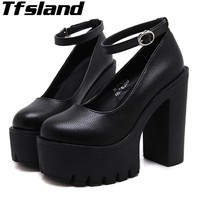 2018 Tfsland Women Thick with High Heel Walking Shoes Sexy Ruslana Korshunova Thick Heels Leisure Platform Pumps Shoes Sneakers