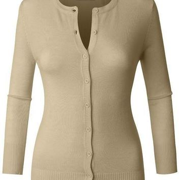 Taupe 3/4 Sleeve Knit Cardigan