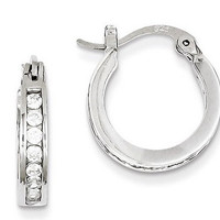 Sterling Silver Channel Set CZ Hoop Earrings (3mm), 0.6 inch (16mm)