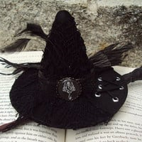 """Harry Potter Death Eater Inspired Mini Witch Hat """"The Bellatrix"""" in black with Dark Mark for costume or cosplay"""