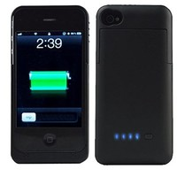 SQdeal® Ultra Slim 3200mah Rechargeable Portable External Battery Backup Charger Case Power Bank Cover for iphone 4 4G 4s (Black)