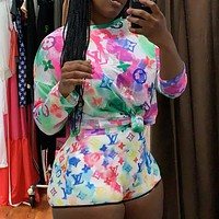 LV Louis vuitton tie-dye long-sleeved top and shorts set