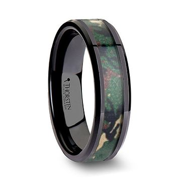 RANGER Beveled Black Ceramic Wedding Ring with Real Military Style Jungle Camo - 6mm - 10mm