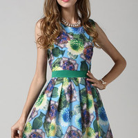 Graphic Floral Sleeveless Sheath A-Line Pleated Mini Dress