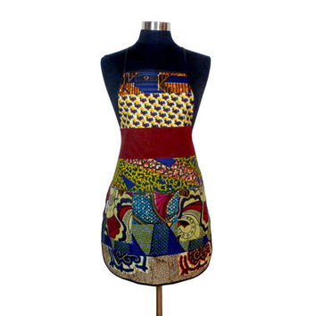 Dutch Wax Print BBQ Patchwork Apron with Pockets - Ghana - West African