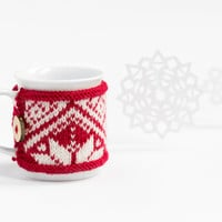 Cup Cozy Christmas snowflake, Knitted Mug Cozy, Coffee Cozy, Tea Cup Cozy, Handmade Wooden Button, Coffee Cozy Sleeve, Christmas, Gift