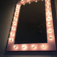 Lighted Pretty n Pink vanity makeup glamor beauty all purpose mirror. Pine wood frame, painted Gloss Candy Pink, with clear coat finish.
