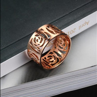 Women Round Ring Hollow Out Flower Gold