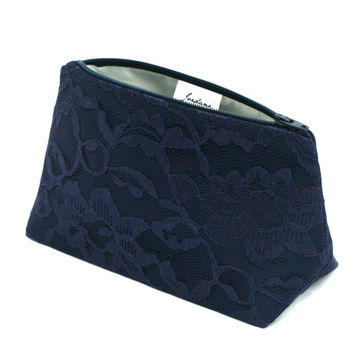 Navy Lace Bridesmaid Gift Clutch: Wedding Accessory, Something Blue, Cosmetic / Makeup Bag, Stocking Stuffer