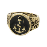 Gold Tone And Black Anchor Ring