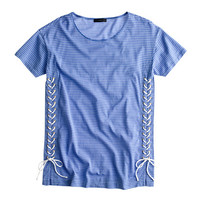J.Crew Womens Lace-Up Tunic T-Shirt In Stripe