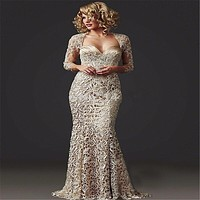 Bridesmaid Dresses Sweetheart 3/4 Sleeves Khaki Lace Long Brides Mother Dresses For Weddings Plus Size