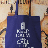 Keep Calm And Call The Doctor, cotton tote bag in BLUE
