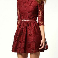 Deep Red Three Quarter Sleeve Mini Dress for Women