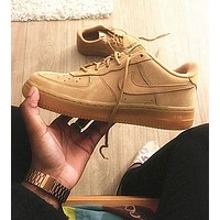 """Nike ""Low to top shoes air force wheat color sandals leisure sports shoes Brown"
