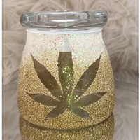 White and Gold Stash Jar | Marijuana Accessories | Weed Jar | Stoner gifts