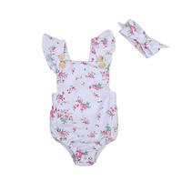 born Toddler Infant Baby Girl Floral Romper Jumpsuit Back Cross Outfit Clothes With Headband