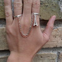Eiffel Tower Copper & Silver Double Connected Chain Ring