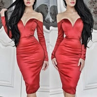 Red Plunging V Neck Off Shoulder Long Sleeve Ruched Bodycon Midi Dress