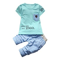 Summer Baby Boy Clothes Sets Kids Short Sleeves T-Shirt + Toddler Sport Suits Shorts 2 PCs Children Boys Clothing Set