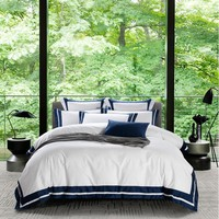 Cool Luxury hotel style 100% Cotton Bedding Set Duvet Cover Sheet Pillowcase King Queen Size White Gray Blue Silk ribbon Bed LinenAT_93_12