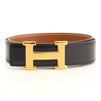 AUTHENTIC HERMES CONSTANCE H BELT BLACK BROWN Z GRADE S USED -AT