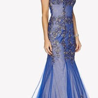 Royal Blue Sleeveless Appliqued Mermaid Evening Gown with Godets and Train