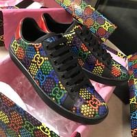 GUCCI new hot sale men and women color GG printed casual sneakers