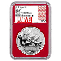 2018 Tuvalu 1 oz Silver Marvel Series Iron Man NGC MS-69 (First Day, Red Core)