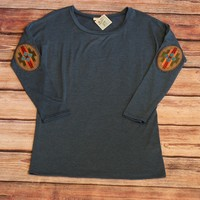 Slate Blue Tunic With Aztec Elbow Patch
