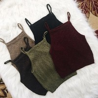 2017 Fashion Cropped Women Knitted Tank Top Summer Sleeveless Casual Camisole Vest Crop Tops For Women cropped feminino 5Color#8
